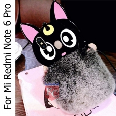 Adorable Cartoon Meow Cute Cat Fluffy Fur Hair Case Soft Silicone Back Cover for Mi Redmi Note 6 Pro - Black