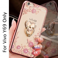 Heart Ring Stand Case with Auora Flower Crystals for Vivo Y69 Back Cover Rose Gold