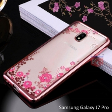 Auora Flower Case with Sparkle Crystals for Galaxy J7 Pro Back Cover Rose Gold