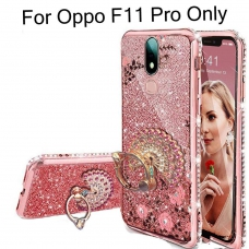Glitter Peacock Ring Diamond Stand Auora Flower Transparent Silicon Back Cover for Oppo F11 Pro (Rose Gold)
