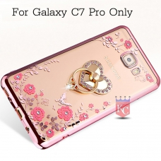 Heart Ring Stand Case with Auora Flower Crystals for Galaxy C7 Pro Back Cover Rose Gold