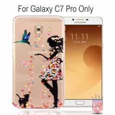 Printed Girl Holding Samsung Diamond Soft Transparent Back Cover for Galaxy C7 Pro