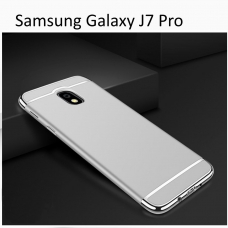 3 In 1 Ultra Thin Hard Coated Matte Surface Back Cover for Galaxy J7 Pro - Silver