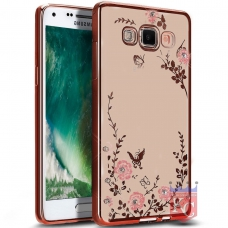Auora Flower Case with Sparkle Crystals for Galaxy J7 2016 Back Cover Rose Gold