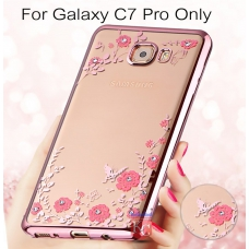 Auora Flower Case with Sparkle Crystals for Galaxy C7 Pro Back Cover Rose Gold