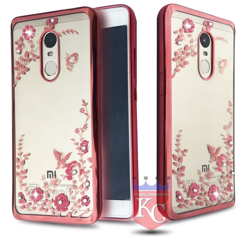 promo code dfb36 c57c8 Auora Flower Case with Sparkle Crystals for Redmi Note 4 Back Cover ...