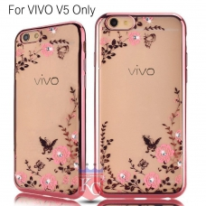 Auora Flower Case with Sparkle Crystals for Vivo V5 Back Cover Rose Gold
