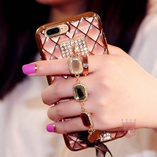 Crystal Diamond Bracelet Chain Soft Transparent Back Cover for iPhone 7 Plus - Rose Gold