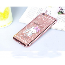 "Back Cover iPhone 6 Plus & iPhone 6s Plus Gold Premium Quality Hello Kitty with Teddy Bear Printed Anti- Back Case with Bling Diamond Crystal Soft Slim Scratch Nano Plated Clear - 5.5"" Rose"