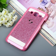 Thin Glitter Shiny Crystal Bling Hard Back Cover For Galaxy J7 2016 - Pink