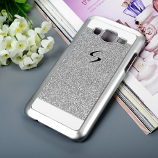 Thin Glitter Shiny Crystal Bling Hard Back Cover For Galaxy J7 2016 - Silver